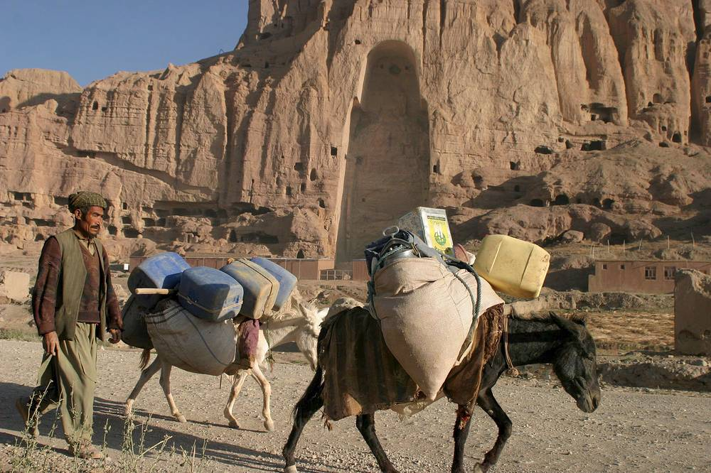 1600 years old Buddha caves in Bamiyan valley, destroyed by the Taliban in 2001