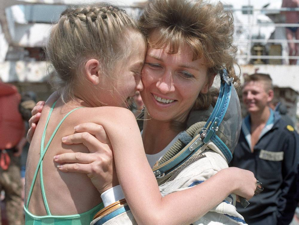 Russian Yelena Kondakova was the third Russian female cosmonaut to travel to space and the first woman to make a long-duration spaceflight. Photo: Yelena Kondakova with daughter