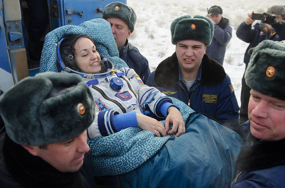ISS Expedition 41/42 crew member, Russia's cosmonaut Yelena Serova after the landing of Soyuz reentry module in Kazakhstan