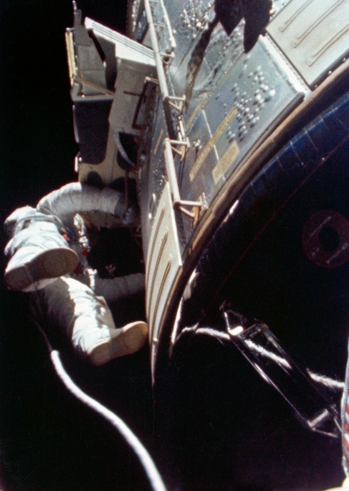 American astronaut Alfred Worden performed humanity's first deep-space EVA during Apollo 15's homeward journey from the Moon in 1971