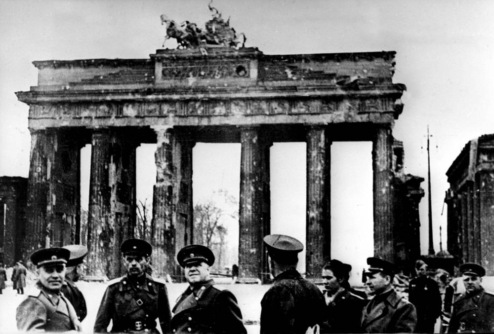 Marshal of the Soviet Union Georgy Zhukov and Soviet officers near the Brandenburg Gate, 1945