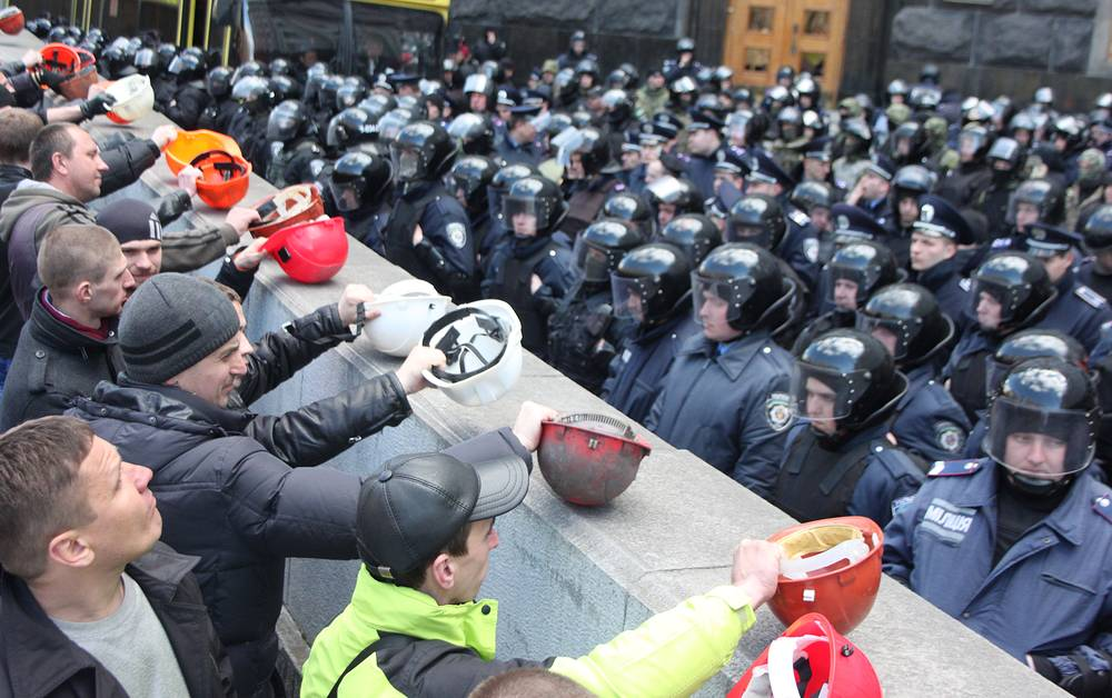 Protesting miners in Kiev, April 22