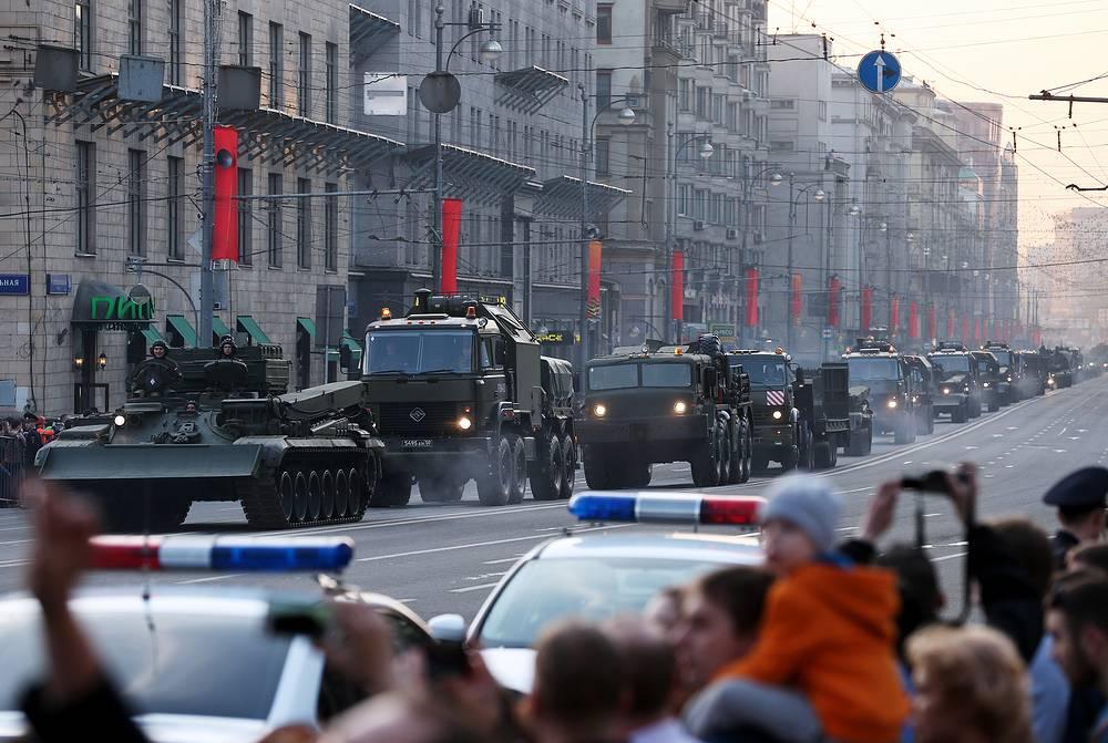 Military vehicles running along Moscow's Tverskaya Street