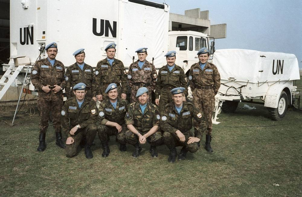 Russian Airborne Troops were the part of the UN peacekeeping forces on the territory of the former Yugoslavia. Photo: the first group of the Russian blue berets battalion at Klisa airport (Croatia), April 22, 1992