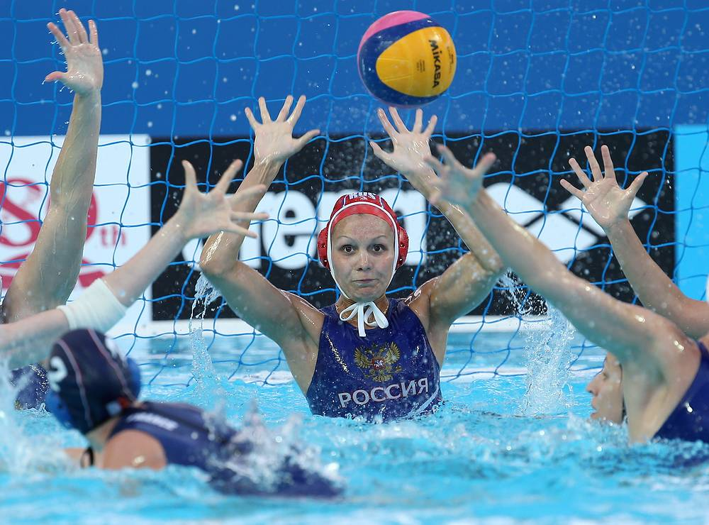 Russia's goalkeeper Anna Karnaukh during the Women's Preliminary Round Group D water polo match against France at the 16th FINA World Swimming Championships, at the Water Polo Arena, July 26