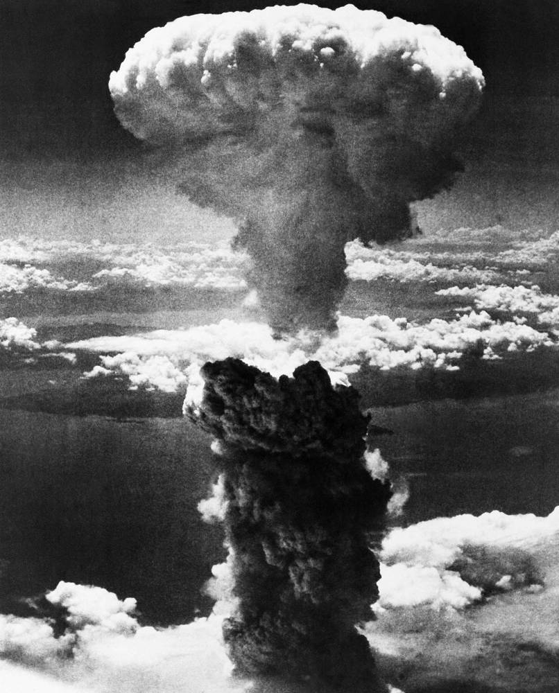 Three days later, in the morning of August 9, 1945 another B-29 bomber dropped a plutonium bomb on Nagasaki, killing 70,000 and razing the city to the ground