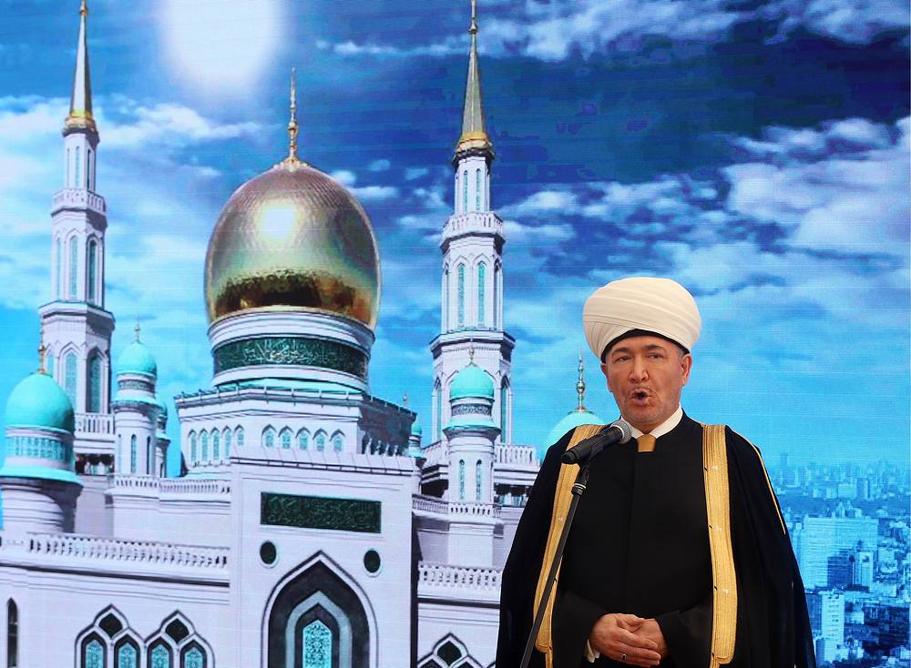 Ravil Gainutdin, the chairman of the Council of Russia's Muftis speaking at the opening of the Moscow Cathedral Mosque after a major reconstruction