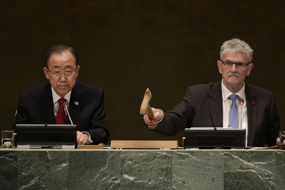 UN Secretary General Ban Ki-moon and General Assembly President Mogens Lykketoft