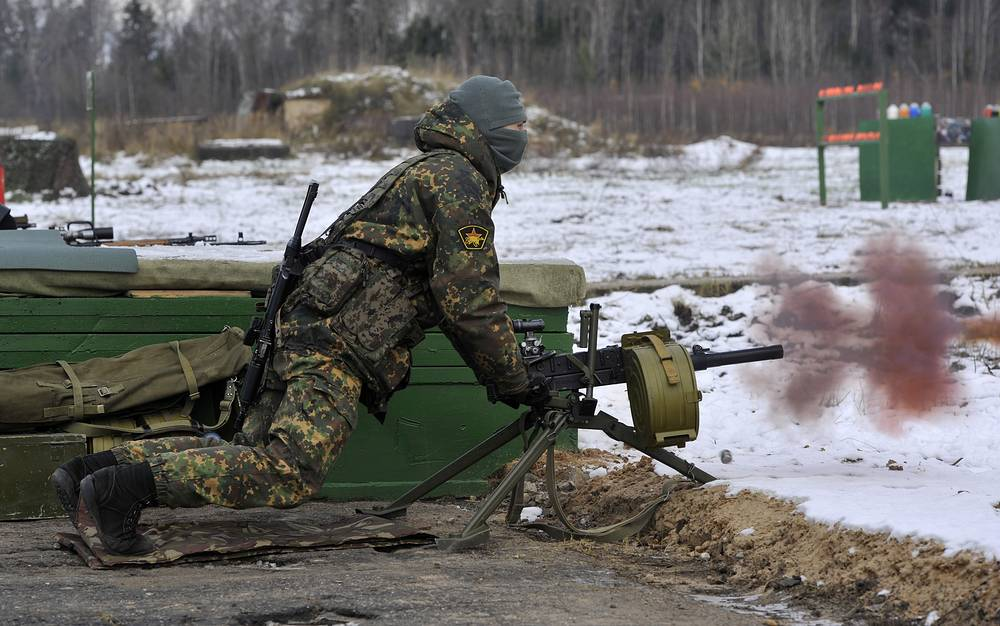 AGS-17 Plamya automatic grenade launcher produced since 1971 is a heavy infantry support weapon, operating from a tripod or mounted on an installation or vehicle