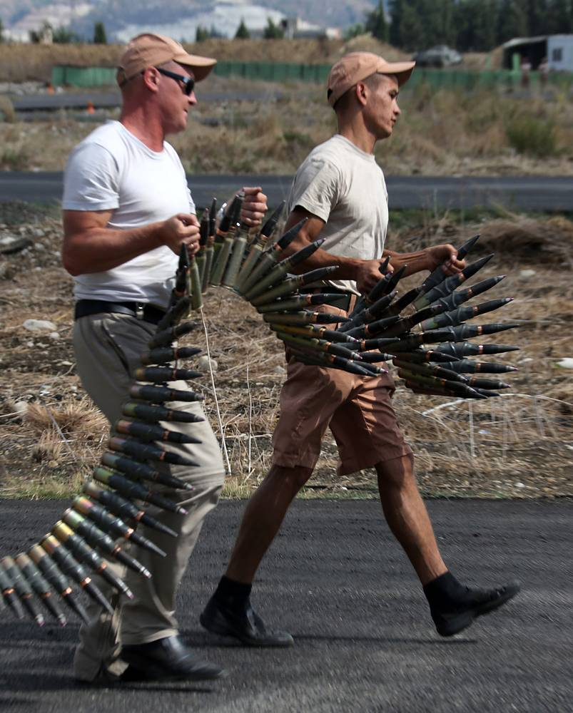 Russian servicemen at the Hmeymim airbase