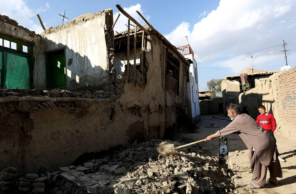 Damaged house following a strong earthquake, in Kabul, Afghanistan