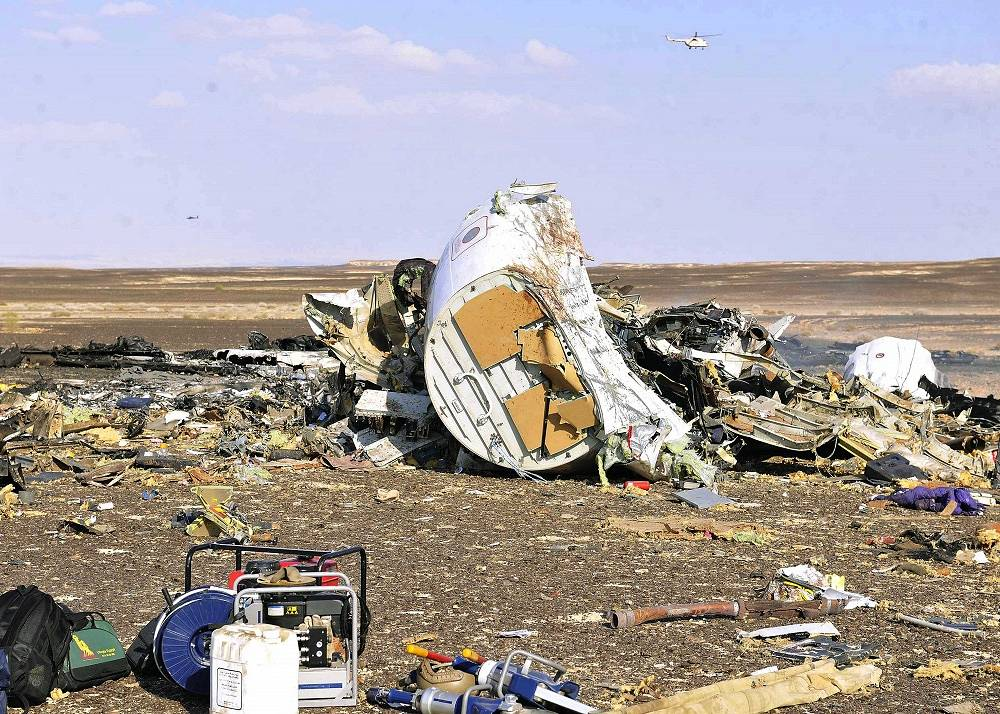 Debris from crashed Russian jet, Sinai, Egypt