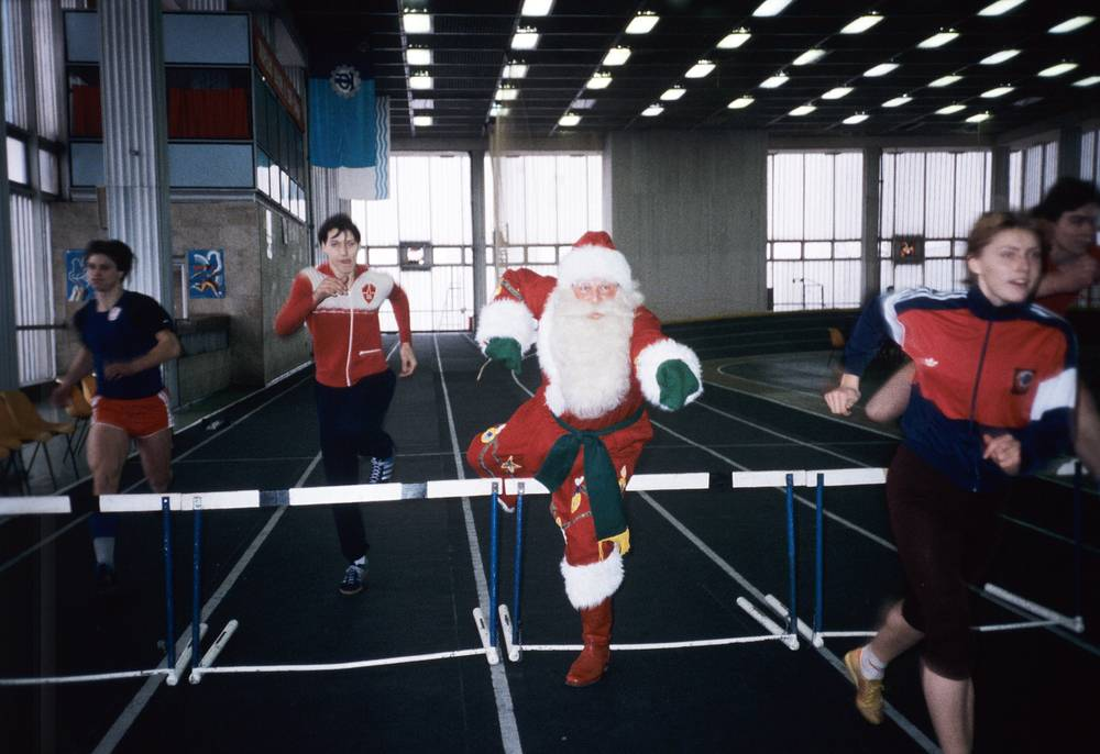 Grandfather Frost in a gym, Moscow, 1986
