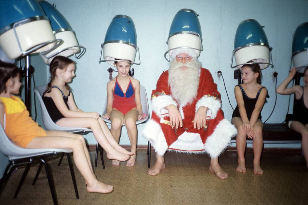 Grandfather Frost in a swimming pool, Moscow, 1986
