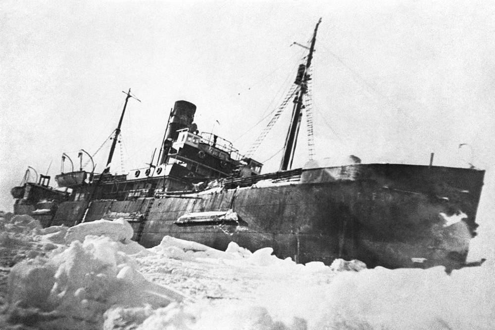 Georgy Sedov ice-breaker in the ice of the Laptev Sea, 1937