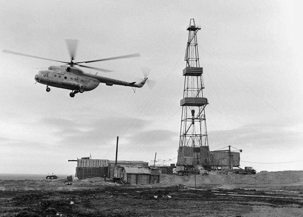Kolguyev island. A drilling rig on the oil field in Arkhangelsk region, 1987