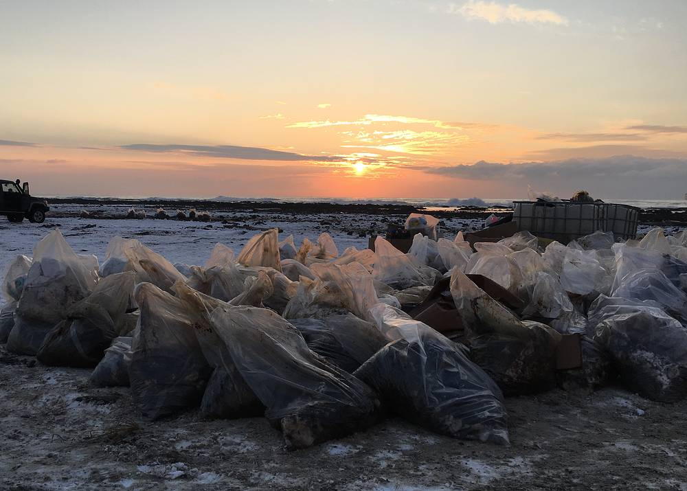 Bags of contaminated sand collected by workers in a clean up effort