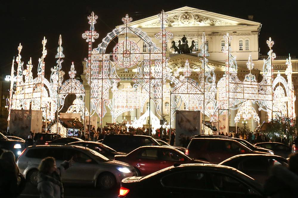 A light installation outside Moscow's Bolshoi Theater