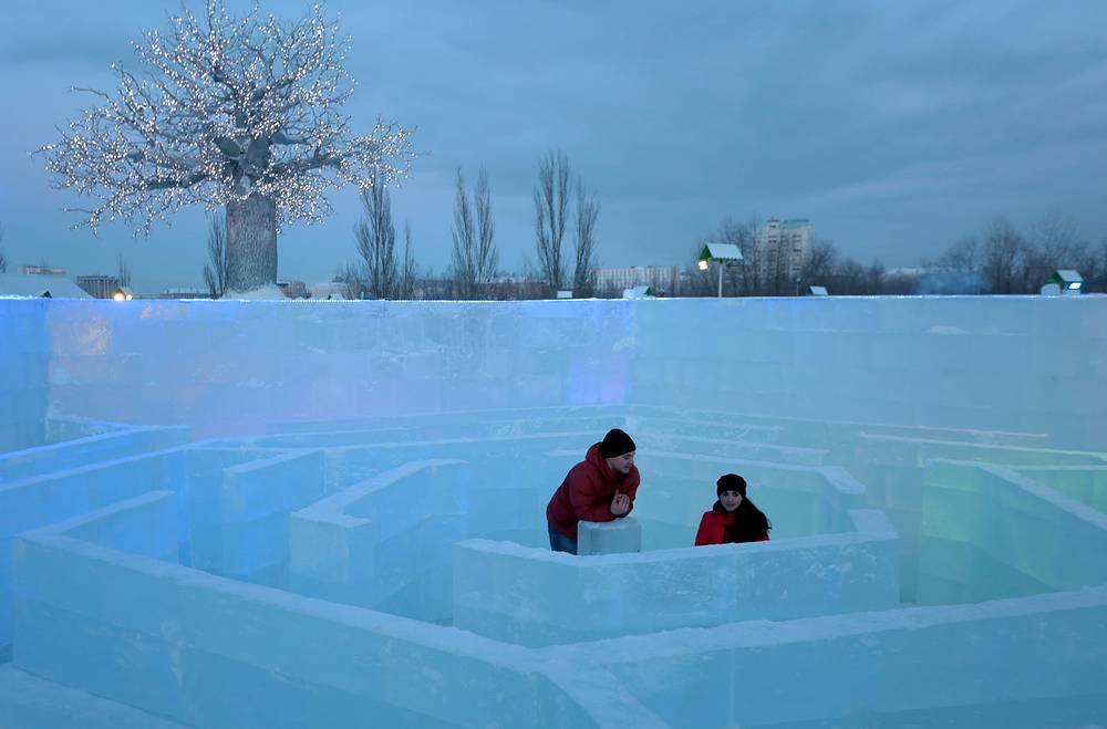 Belovodye ice city in Omsk