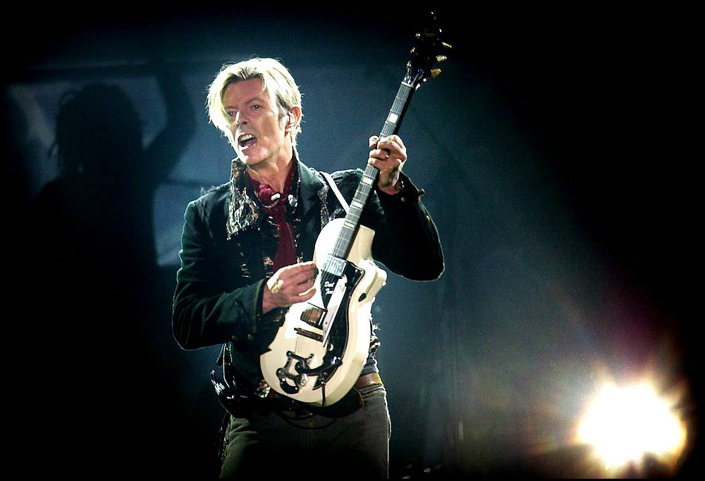 Rock legend David Bowie performing on stage at Forum, in Copenhagen, Denmark, 2003