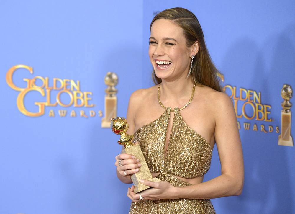 US actress Brie Larson holding the award for Best Actress in a Motion Picture, Drama for 'Room' in the press room during 73rd Annual Golden Globe Awards