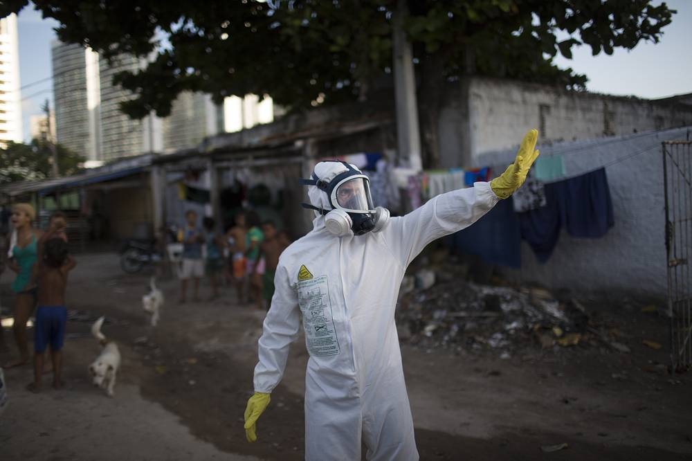 A municipal worker seen during an operation to combat the Aedes aegypti mosquitoes in Recife, Brazil