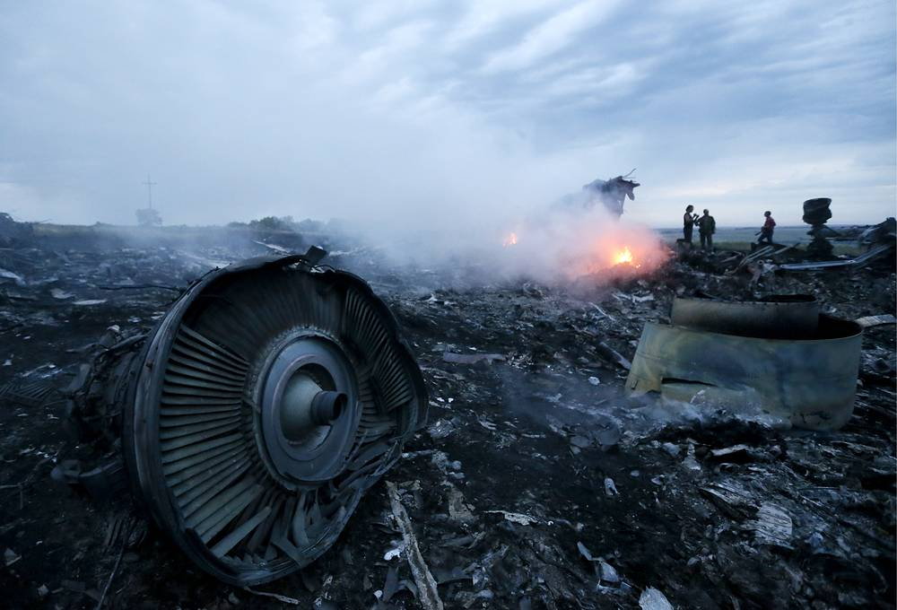 The site of the crash of Malaysia Airlines Boeing 777 passenger airliner in the Donetsk region, eastern Ukraine, 2014