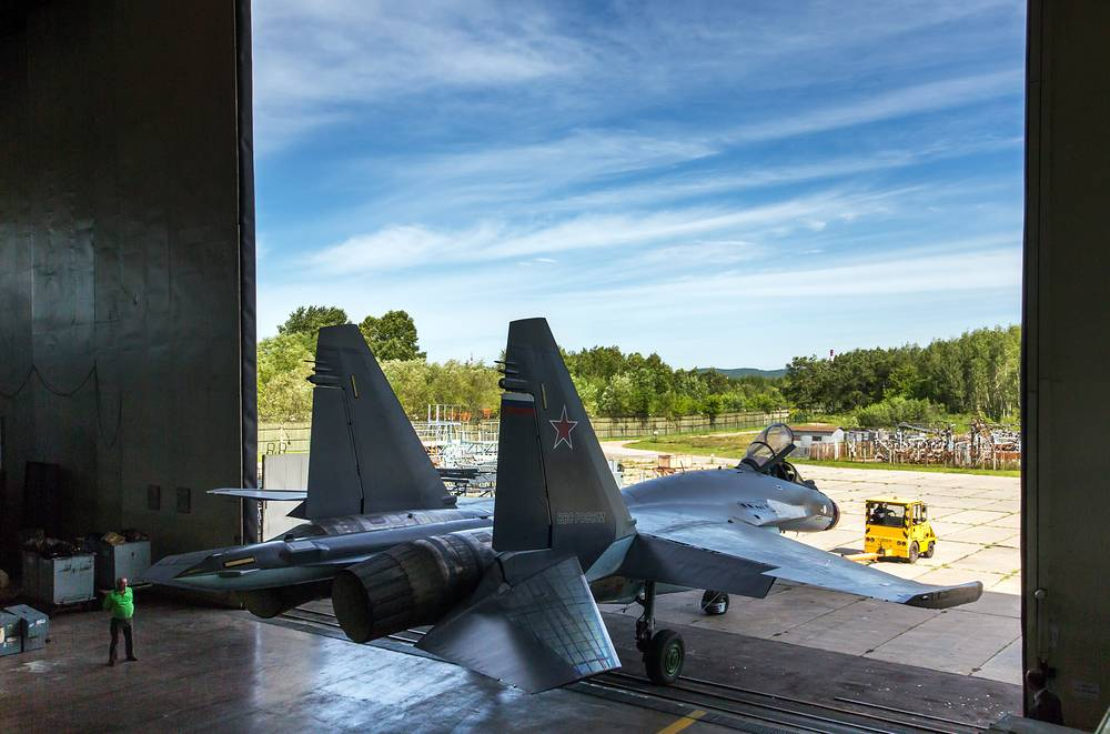 Sukhoi Su-35 at the assembly facility