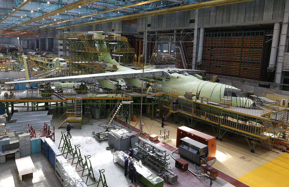 Ilyushin IL-76MD-90A military transport aircraft assembled at the Aviastar-SP aircraft building plant of the United Aircraft Corporation