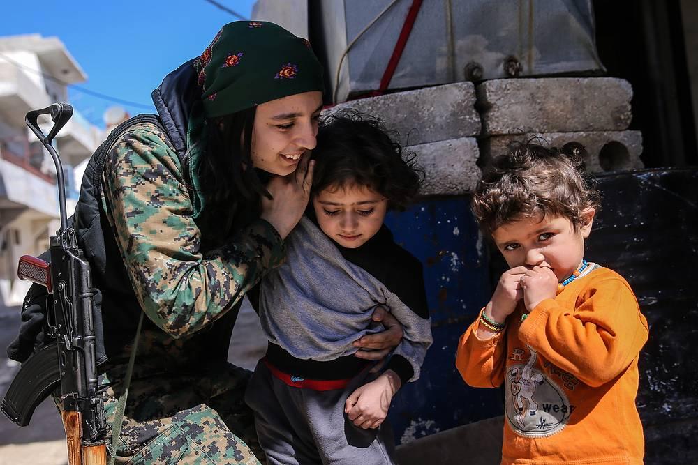 Kurds in Aleppo's Sheikh Maqsoud neighbourhood