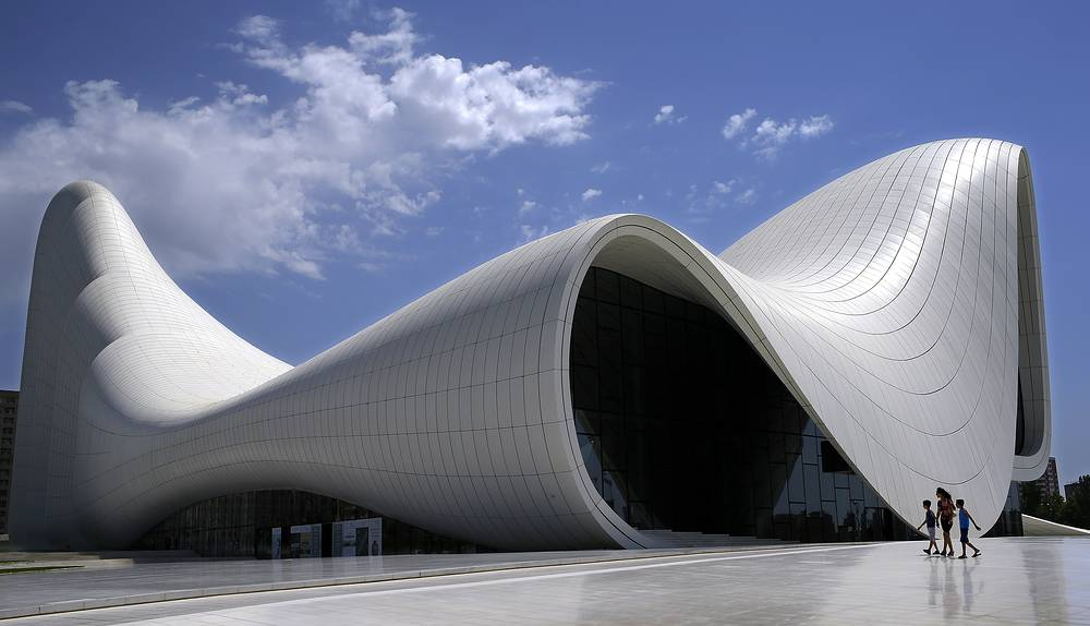 An exterior view of Heydar Aliyev Center in downtown of Baku, Azerbaijan. The building was designed by Iraqi-British architect Zaha Hadid, over an area of 101801.0 square meters and was finished in 2014, becoming one of the modern symbols of Baku