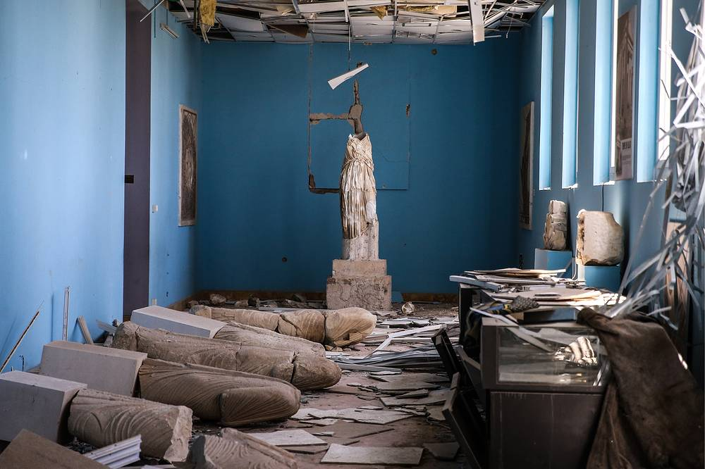 Ancient artifacts damaged and vandalised by the IS terrorist group in Palmyra's National Museum