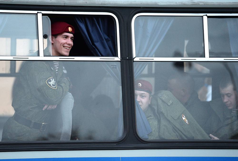 Russian servicemen seen during a rehearsal of the upcoming 9 May military parade in Yekaterinburg