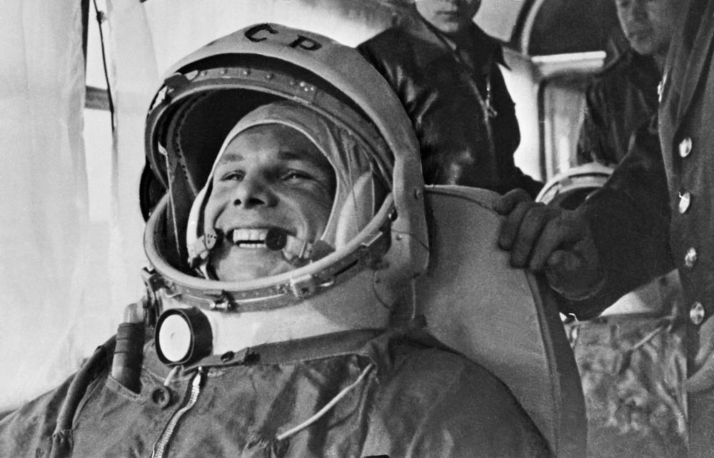The first person to fly in space, Yuri Gagarin, also became the first person to complete an orbital spaceflight in the Vostok 1 spaceship, in 1961