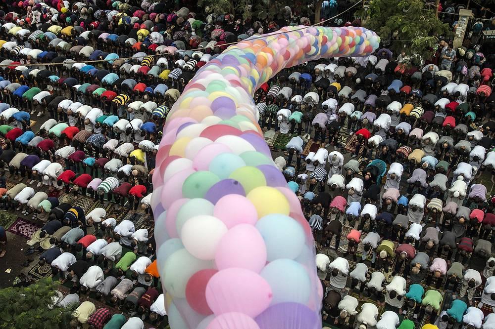 Eid Al-Adha prayers at the al-Seddik Mosque in Cairo, Egypt