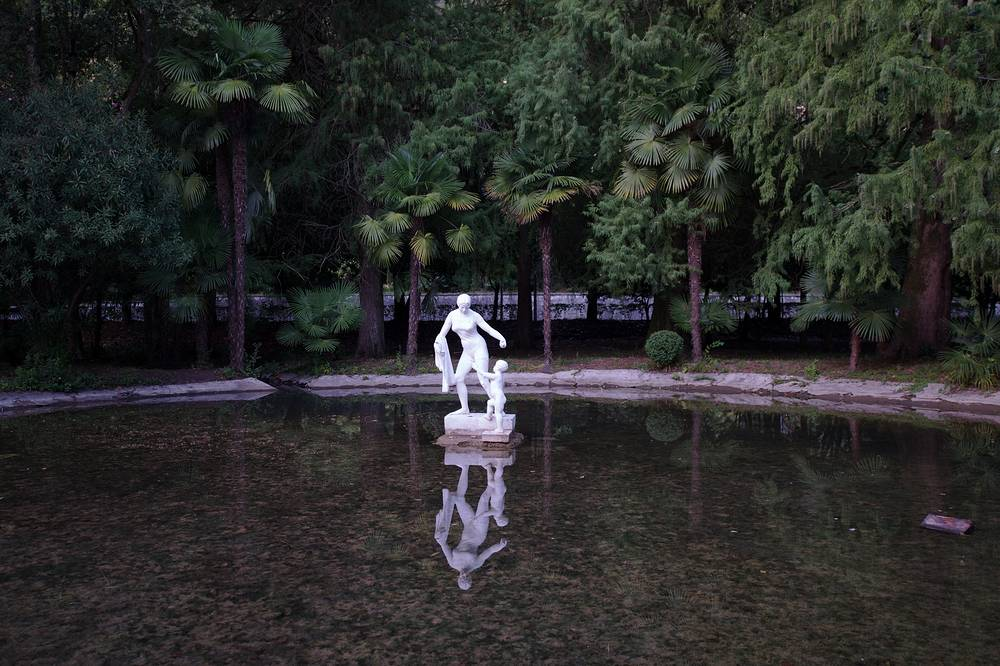 Pond in the tropical botanical garden along the Gagra seashore