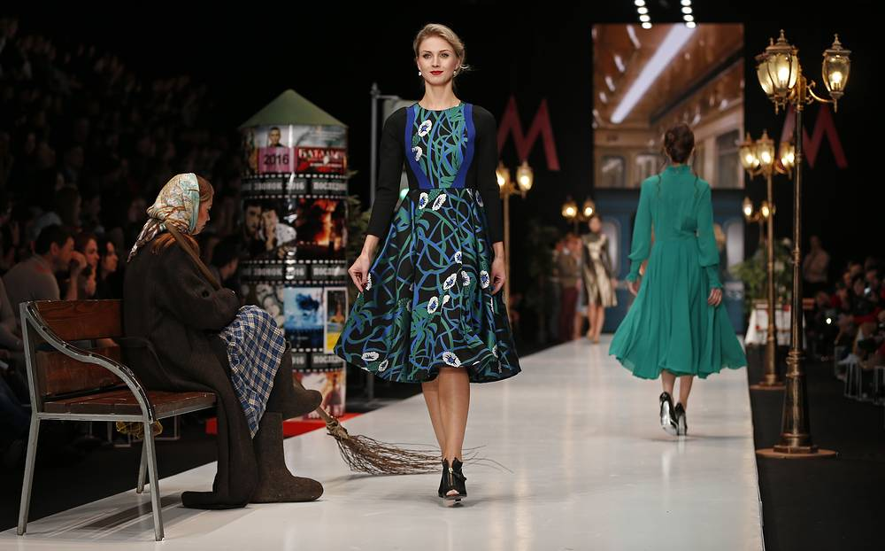 Models present a creation by Anika Kerimova