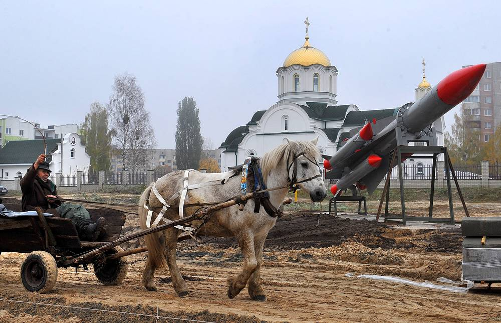 Construction site of the Open Air Museum of military hardware in the city of Zhytkavichy, Belarus, October 14