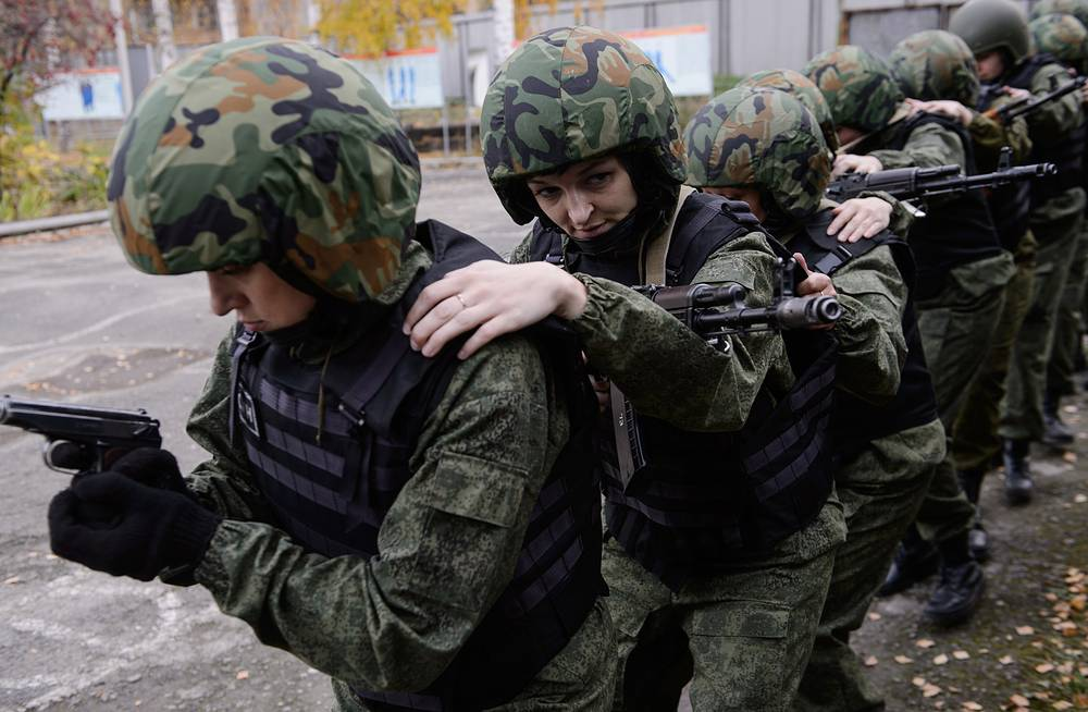 Members of a rapid action team training to release hostages and capture prison regime offenders. The unit consists of 17 female employees of the 6th Nizhny Tagil women's prison colony and is established to prevent crimes in the colony
