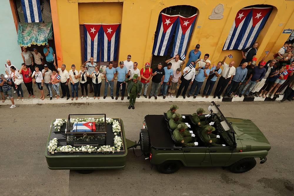 The funeral procession carrying Fidel Castro's ashes in Santa Clara, Cuba, December 1