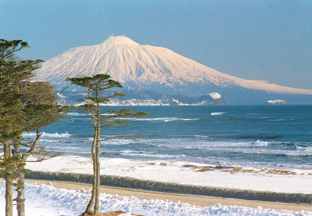 Tyatya volcano located in the northeastern part of Kunashir Island, one of Kuril Islands and part of Kurils Nature Reserve. It is the highest peak on the island with an elevation of 1,819 metres.