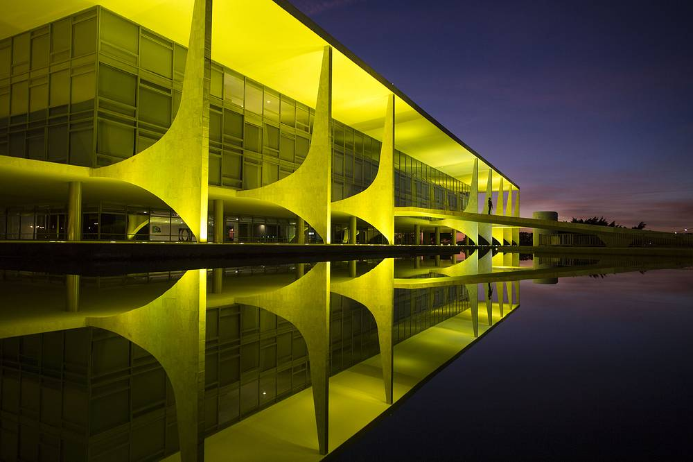 The Planalto presidential palace, the official workplace of the President of Brazil, designed by architect Oscar Niemeyer. It is one of the official palaces of the Presidency, along with the Palacio da Alvorada, the official residence