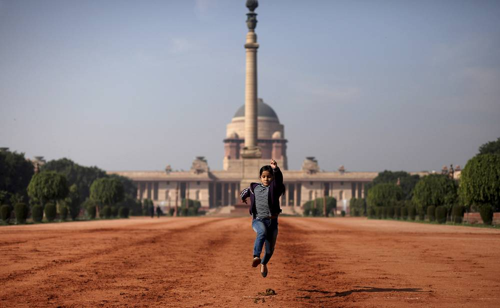 The main entrance of the Rashtrapati Bhavan, the official home of the President of India, located at the Western end of Rajpath in New Delhi