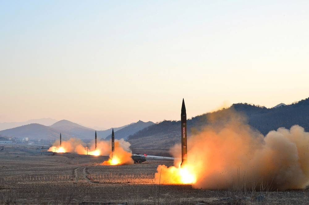 North Korean leader Kim Jong Un supervised a ballistic rocket launching drill of Hwasong artillery units of the Strategic Force of the KPA on the spot in this undated photo released by North Korea's Korean Central News Agency in Pyongyang, March 7, 2017. This picture was provided by a third party. REUTERS is unable to verify the authenticity, content, location or date of this image