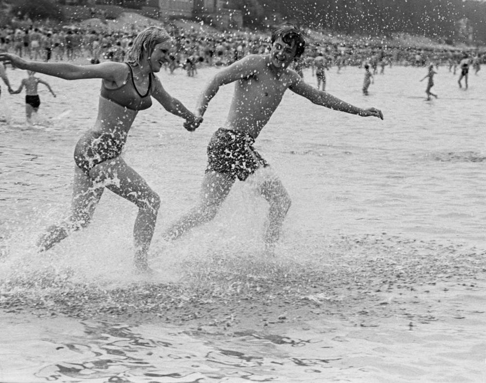 Holidaymakers at one of the Jurmala resorts, Latvia, 1975