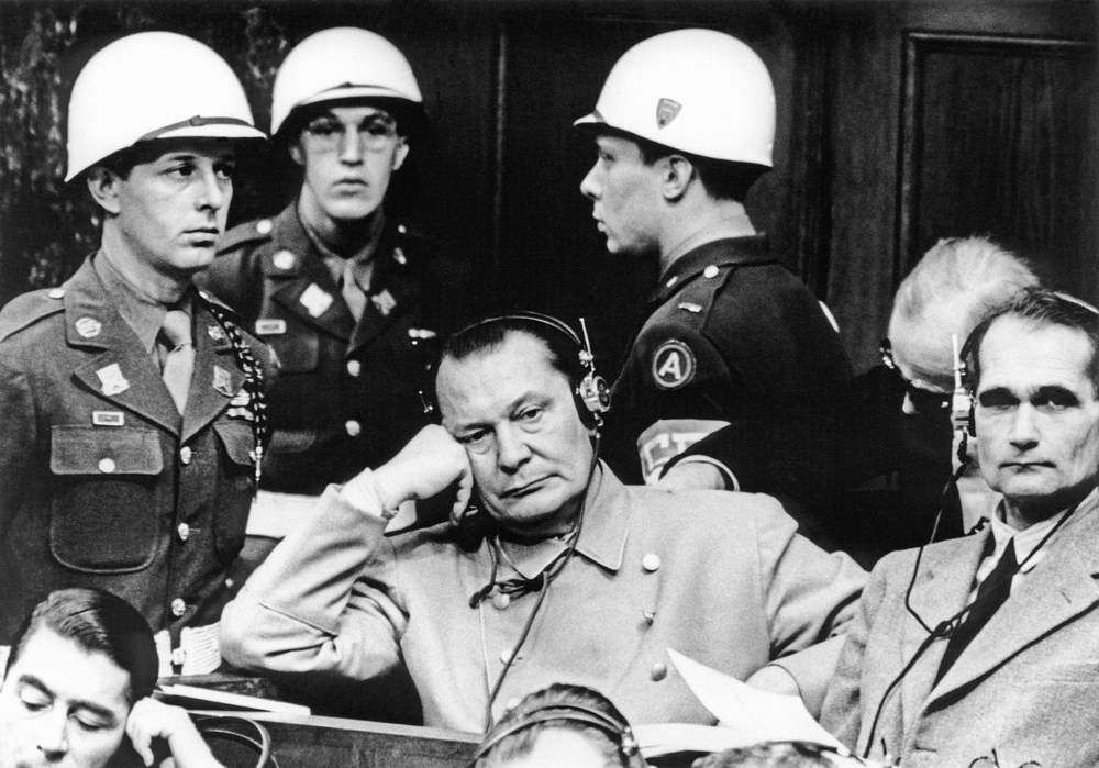 Reichmarshall Hermann Goering and Hitler's deputy leader Rudolf Hess in the dock at the Nuremburg trials, 1945