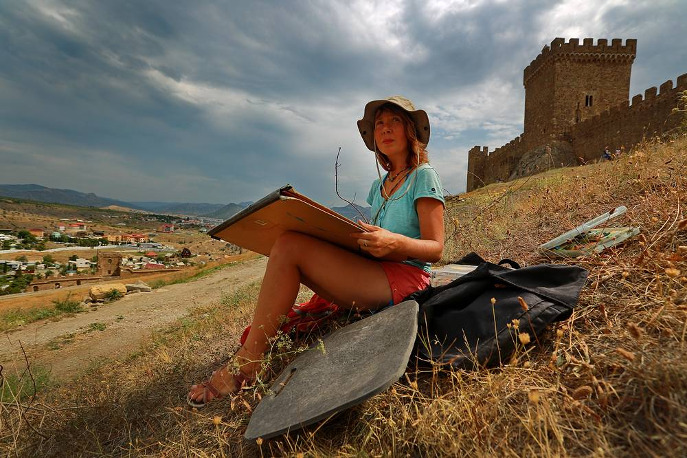 Genoese Fortress dominating the town of Sudak in the Crimea