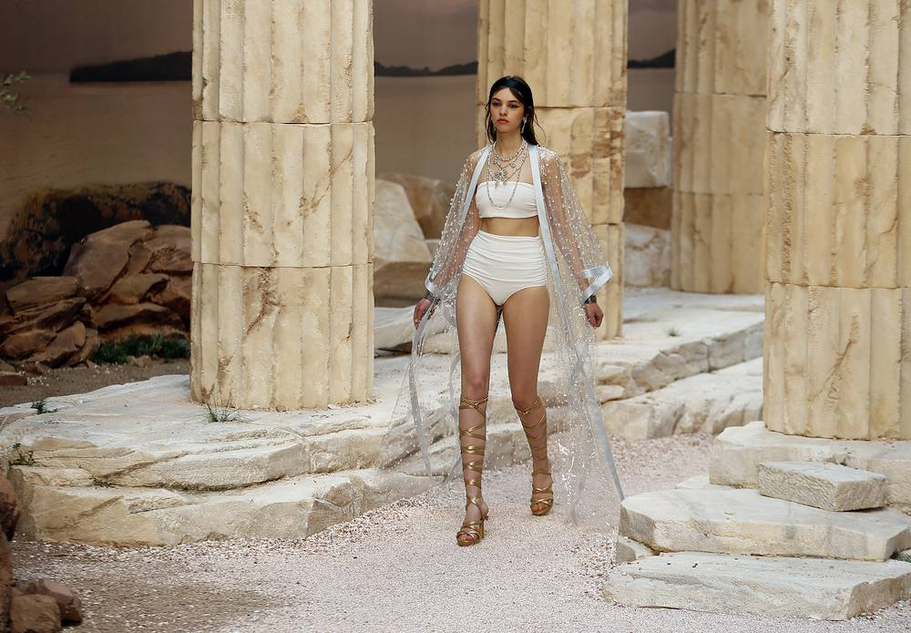 A model wears a creation during the presentation of Chanel Cruise collection in Paris, May 3