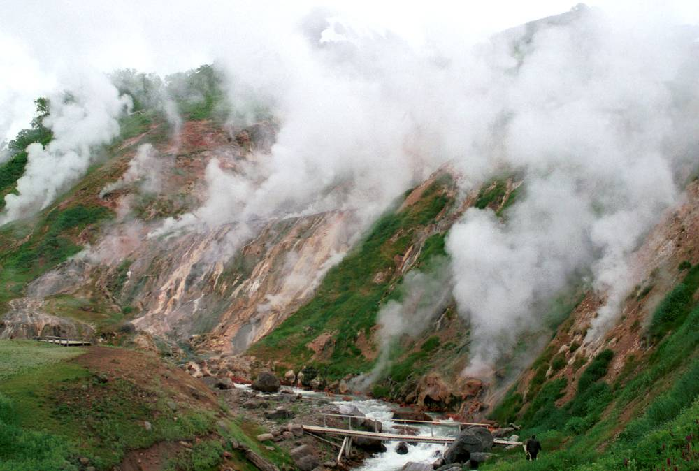 Valley of Geysers, a geyser field on Kamchatka Peninsula, the second largest concentration of geysers in the world