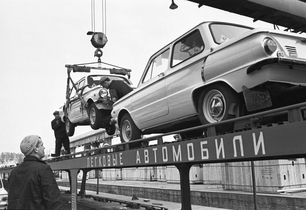 ZAZ Zaporozhets was another famous Soviet car. Photo: Loading of vehicles at Zaporizhia automobile plant, 1975